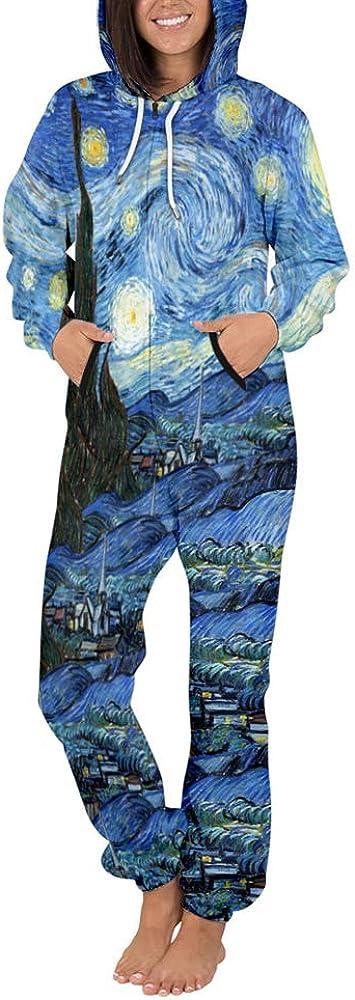 MORBUY Sudadera con Capucha de Hombre Unisexo Trabajo Jumpsuit Pijama en Una Sola Pieza Manga Larga Impresi/ón 3D Cierre de Cremallera Playsuit Adulto