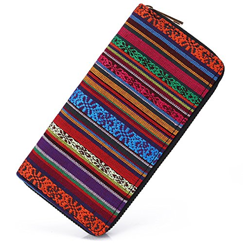 (SANSARYA Boho Zipper Women Wallet Long Ladies Cute Clutch Wallets Card Holder,Vintage Hippie Aztec Tribal Style)