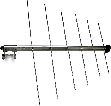 3H-VHF-12-LOG - 12 elementos semilogarítmica 8 db (I) pasivo antena exterior para VHF banda III y banda DAB + para montaje horizontal y vertical de ...