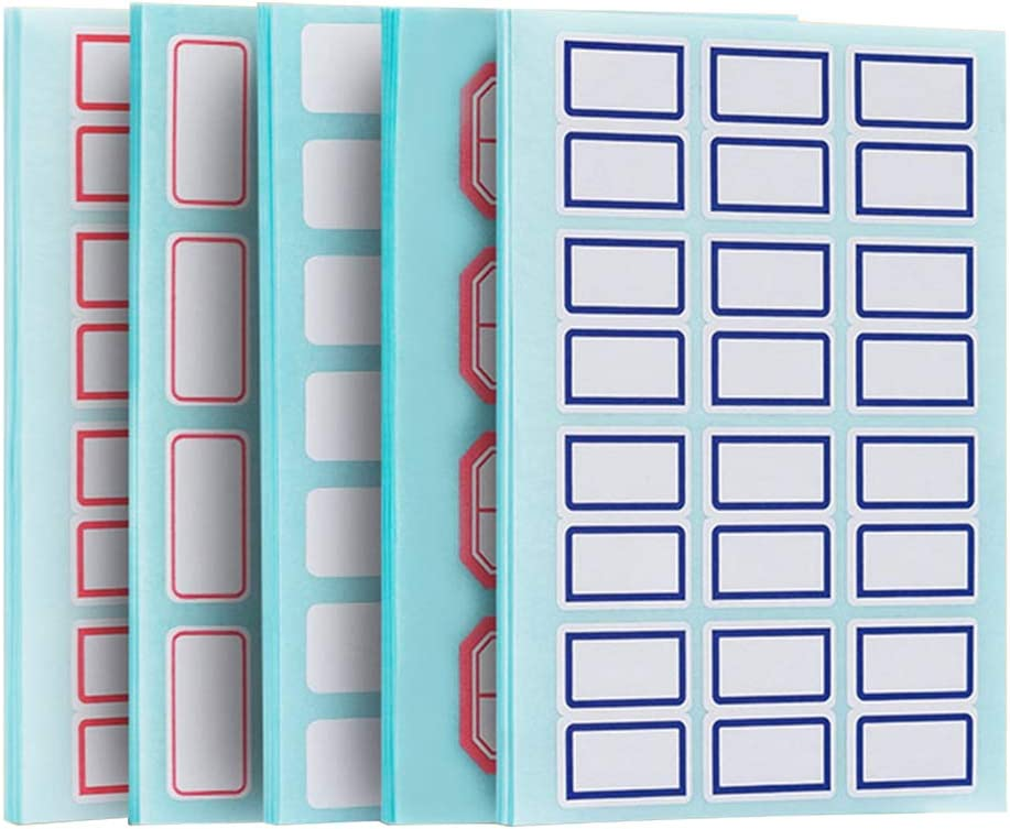 Deli 738 Label Stickers Sticky Rectangle Labels 9 Sizes, Self Adhesive Tags, Easy to Peel Off, Blank Sticker Nametags for File Folder, Jars, Bottles, Food Containers