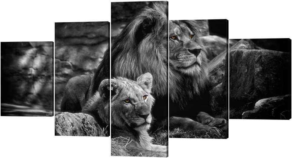 Framed Lion Pictures Wall Decor Modern 5 Panels White Black Lions Canvas Wall Art Easy to Hang Animal Posters for Living Room Bedroom Decor - 60''W x 32''H