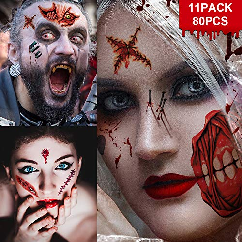 Zombie Makeup Tattoos, Halloween Zombie Makeup Kit, Scar Tattoos, 5(Large)+6(Small) Pack Fake Scars Tattoos, Halloween Makeup Kit, Zombie Makeup Kit for Kids and Adults, Healthy, Waterproof, Long Last