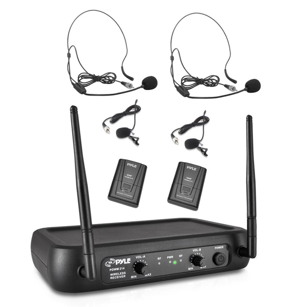 pyle pdwm2145 vhf wireless microphone system 2 headset lavalier mics 2 bodypa ebay. Black Bedroom Furniture Sets. Home Design Ideas