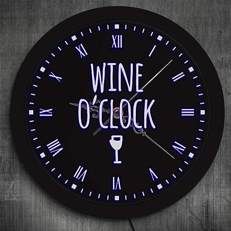 cchpfcc Vino en Punto LED Letrero de Neón Reloj de Pared ...