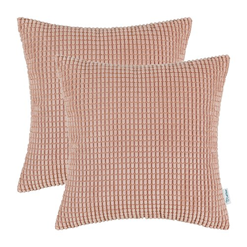 Pack of 2, CaliTime Throw Pillow Covers Cases for Couch Sofa Bed, Comfortable Supersoft Corduroy Corn Striped Both Sides, 20 X 20 Inches, Coral Pink (Pillow Covers Light Pink)