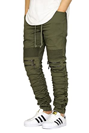 3bd831154 URBANJ MEN S OLIVE TWILL SHIRRING DETAIL BIKER JOGGER PANTS at ...