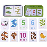 Flash Cards, Early Learning Enlightment Toy Card with Iron Box Suitable for Kids Children Toddler Match Game Puzzle Cards