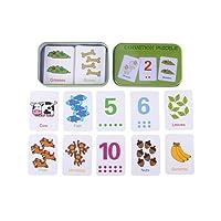 Carte di puzzle cognizione carino in scatola di metallo, numeri/lettere/forme/animali giocattoli di apprendimento precoce per i più piccoli Bambini 0-6 anni regalo