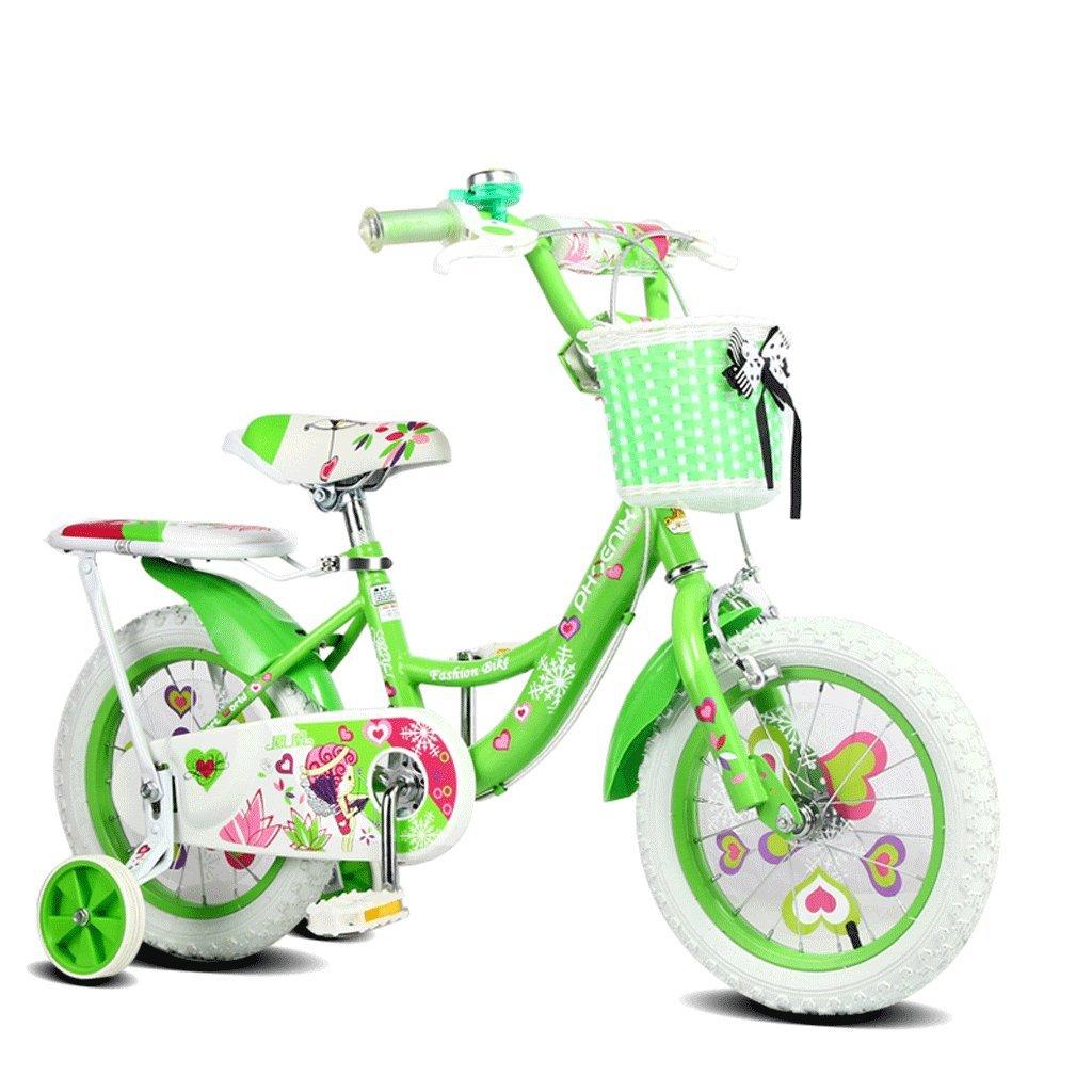 子供用自転車18インチガールズ自転車7-13歳の赤ちゃんキャリッジハイカーボンスチール自転車、ピンク/グリーン/ブルー (Color : Green) B07CV96HHK