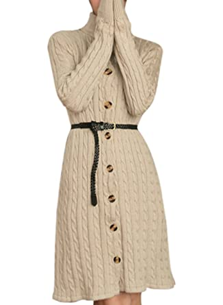 Azbro Womens Fashion Button Down Knitted Sweater Dress With Belt