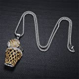 Basket Ball Pendant Hip-Hop Gold Stainless Steel Sports Necklace (Silver)