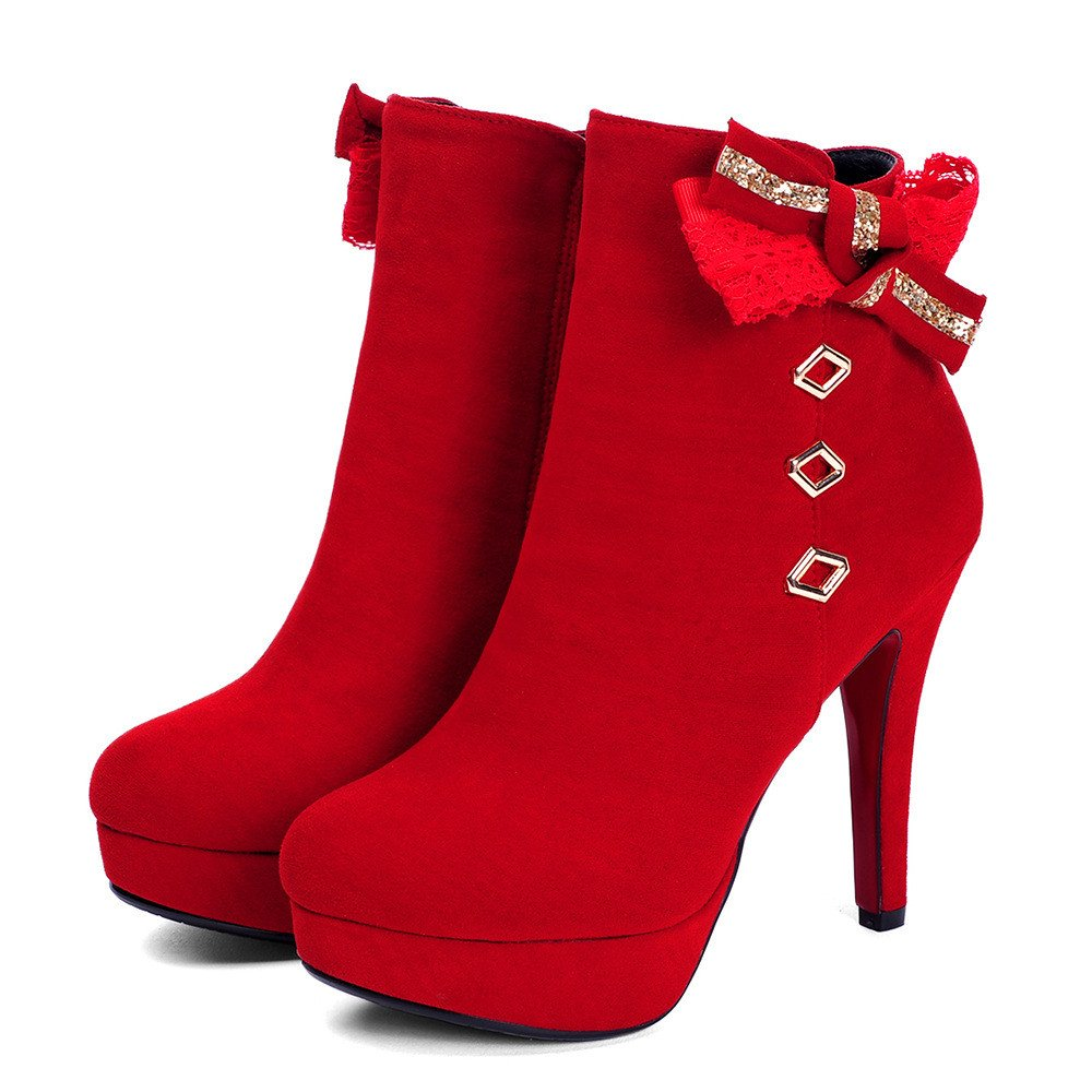 DYF Schuhe kurze Stiefel Dick unten High Heel runden Kopf Kopf runden Schmetterling Knoten ROT 7f9cd1