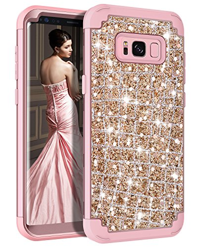 Hekodonk Compatible Galaxy S8 Plus Case, 3D Luxury Sparkle Glitter Shiny Heavy Duty Shockproof Full-Body Protective High Impact Armor Hybrid Cover for Samsung Galaxy S8 Plus - Bling Rose Gold