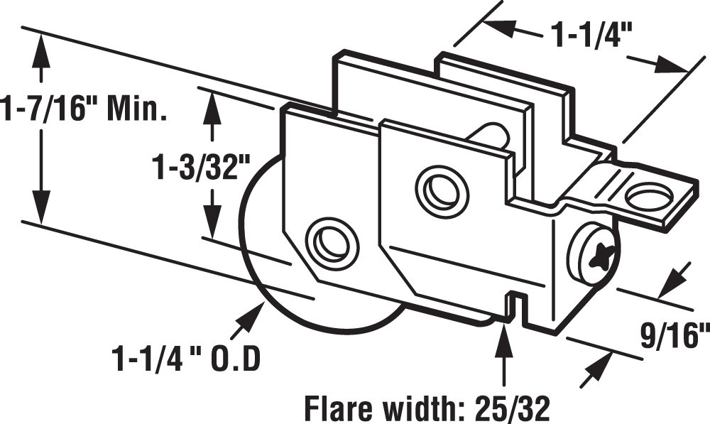 Prime-Line Products D 1697 Sliding Door Roller Assembly 1-1//4-Inch Steel Ball Bearing