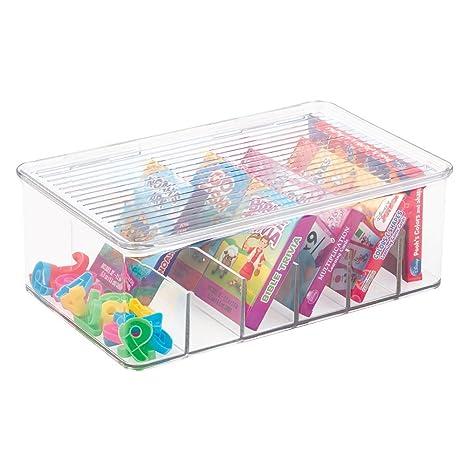 mDesign Caja para guardar juguetes - Caja con tapa para almacenar en estante o bajo la