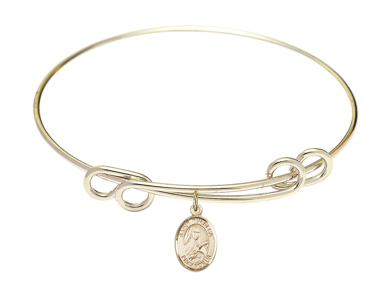 8 1/2 inch Round Double Loop Bangle Bracelet w/St. Theresa in Gold-Filled