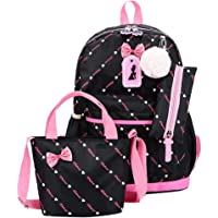 Sumeier 3Pcs Polka Dot Princess Style Elementary Kids School Backpack Bookbag Set for Teens Girls School Bag with Handbag