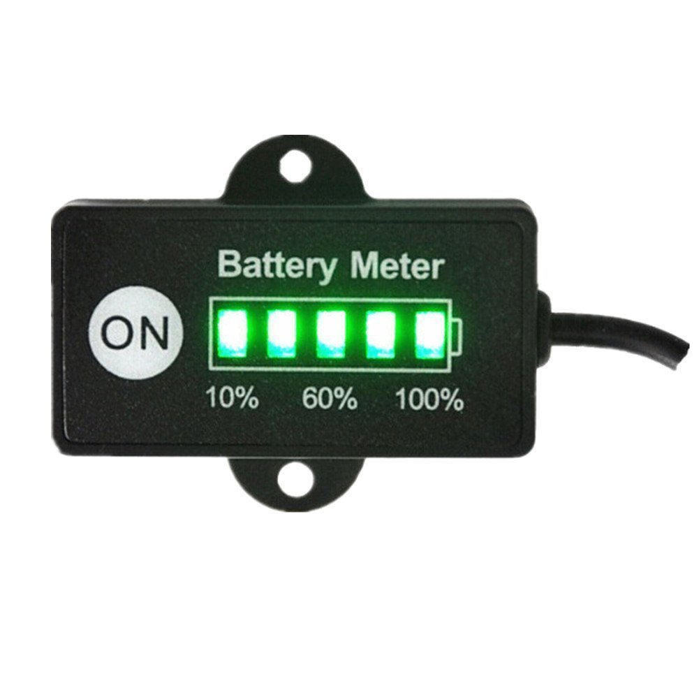 24V 36V 48V Battery Meter Capacity Tester Gauge Battery Charge Indicator with 5 Segments LED for All Lead-Acid VRLA AGM For 24V Lead-Acid Battery GEL Battery