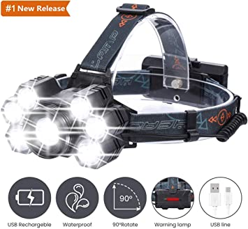 XPE COB LED Headlight USB Rechargeable 7 Modes Torch Light Flashlight Camping
