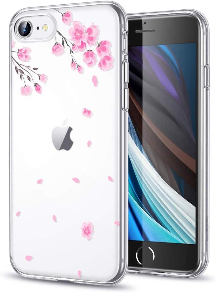 ESR Bonita Funda Transparente para iPhone SE [Funda Blanda Transparente][Bonito Diseño con Dibujos][Funda Ultrafina de TPU para iPhone SE] Cherry Blossom