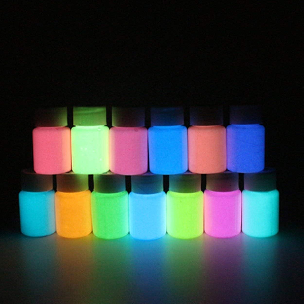Lodenlli Pintura Luminosa de Alto Brillo Impermeable Fluorescente l/íquido de Larga duraci/ón Polvo Luminoso Pintura Luminosa a Base de Agua