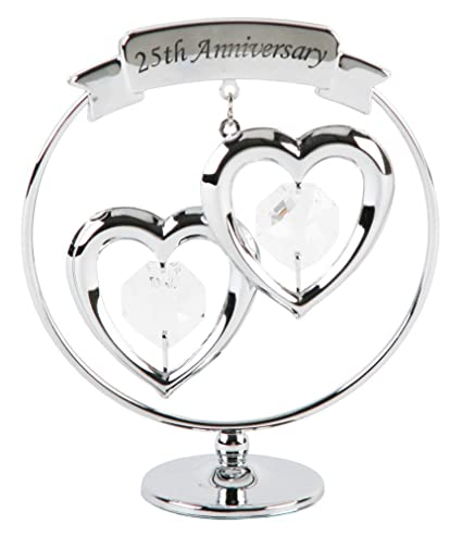 Image Unavailable. Image not available for. Color: 25th Anniversary Silver Plated Keepsake Gift ...