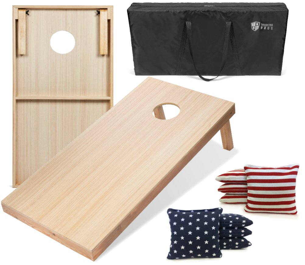Tailgating Pros 4'x2' WoodGrain Finish Cornhole Boards w/Carrying Case & set of 8 Cornhole Bags (YOU PICK COLOR) 25 Bag Colors! (Stars/Stripes) by Tailgating Pros