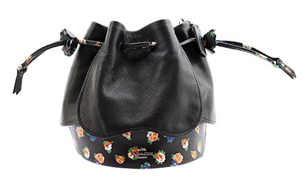 COACH Floral Mix Printed Leather Petal Bag Crossbody, F57544 (Black Multi)