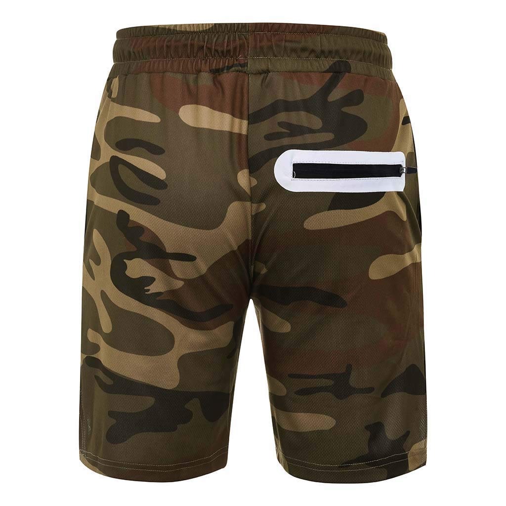 Leoy88 Overalls for Men Summer Pockets Inside Training Running Sports Fitness Short Pants