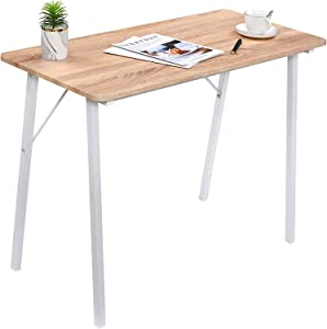 Computer Desk 39 inch Kids Writing Desk for Small Spaces Students Study Table Home Office Wood Work Desk for Corner Bedroom Modern Portable Laptop Desk for School PC Gaming, Oak White
