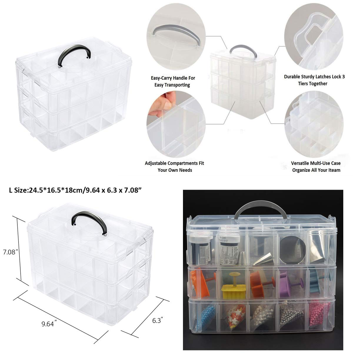SUPVOX 20-Grid Jewelry Organizer Box Beads Case Plastic Adjustable Storage Container Case with Removable Dividers Transparent