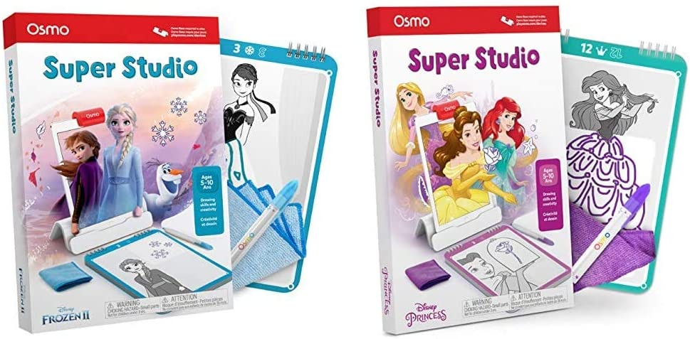 Osmo - Super Studio Disney Frozen 2 - Ages 5-11 - Drawing Activites - for iPad or Fire Tablet & - Super Studio Disney Princess - Ages 5-11 - Drawing Activities - for iPad or Fire Tablet