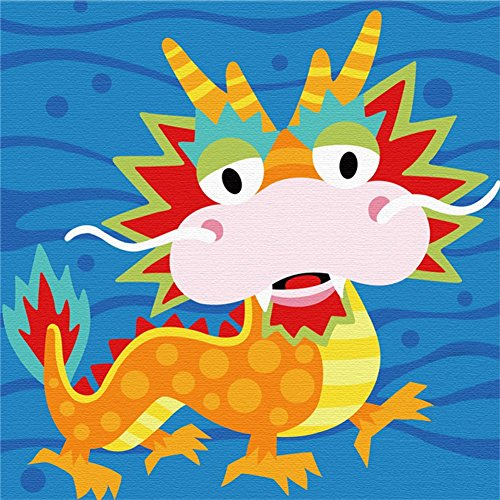 Wood Frame, Diy Oil Painting Kit , Paint By Numbers For Kid Painting Beginner Animal Dragon – 8″X 8″
