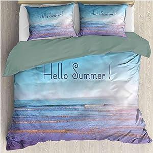 Summer 3 Piece Duvet Cover Set Full, 1 Duvet Cover & 2 Pillowcases, Sunbeams August Holidays Microfiber Duvet Cover Set 4 Corner Ties