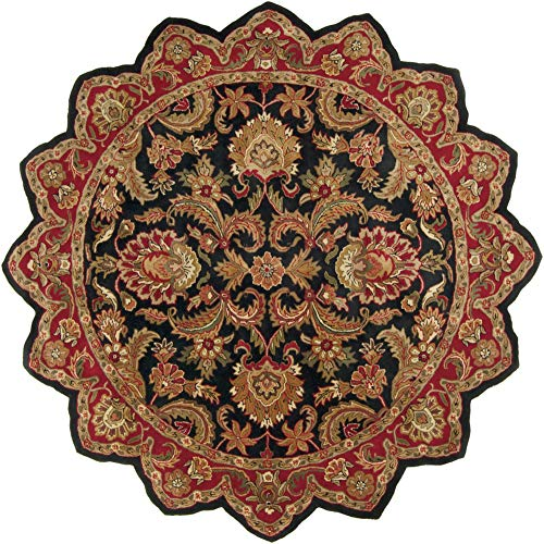 - Surya Ancient Treasures 8' x 8' Star Hand Tufted Wool Black Red Rug