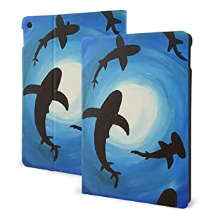 "Shark PU Leather Adjustable Stand Folio Case for IPad 7th 10.2"", Smart Magnetic Auto Wake/Sleep Cover"