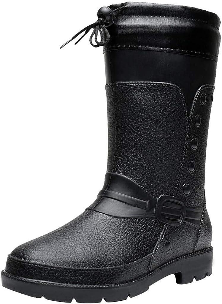 Haforever Mens Long Tube Non-Slip Waterproof Shoes Rain Boots Plush Warm Fishing Shoes Casual Outdoor Boots