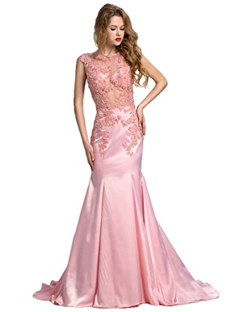 Clearbridal Womens Sheer Neck Satin Long Mermaid Prom Dress Vintage Lace Sequines Evening Gown with Applique