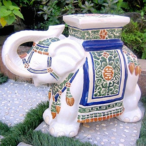 International Caravan VHO16A-C-LG-125-IC Furniture Piece Large Porcelain Elephant Stool ()