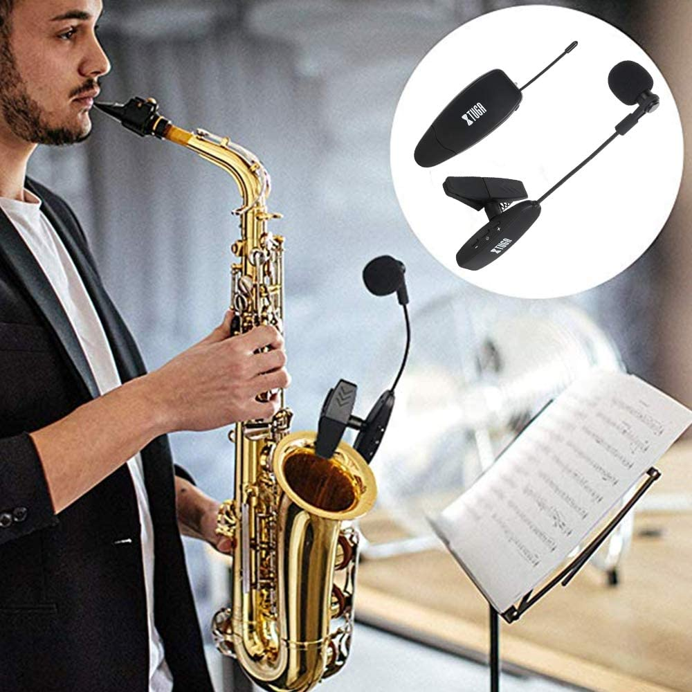 XTUGA UHF Wireless Instrument Condenser Microphone Clip Mic Gooseneck 130ft Stable Wireless Transmission 1/8&1/4'' Port Great for Horns,Trumpets,Clarinets,Saxophones Cameras (KX621 Clip): Home Audio & Theater