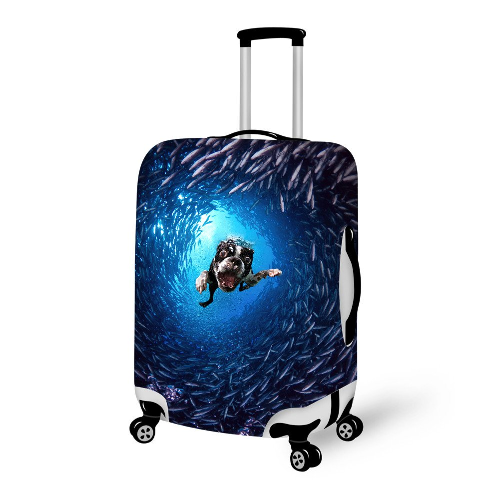 92cd0f50b531 HUGS IDEA Blue Leopard Fashion Elastic Luggage Bag Cover Fits 18/20/22 Inch  Suitcase with Zipper
