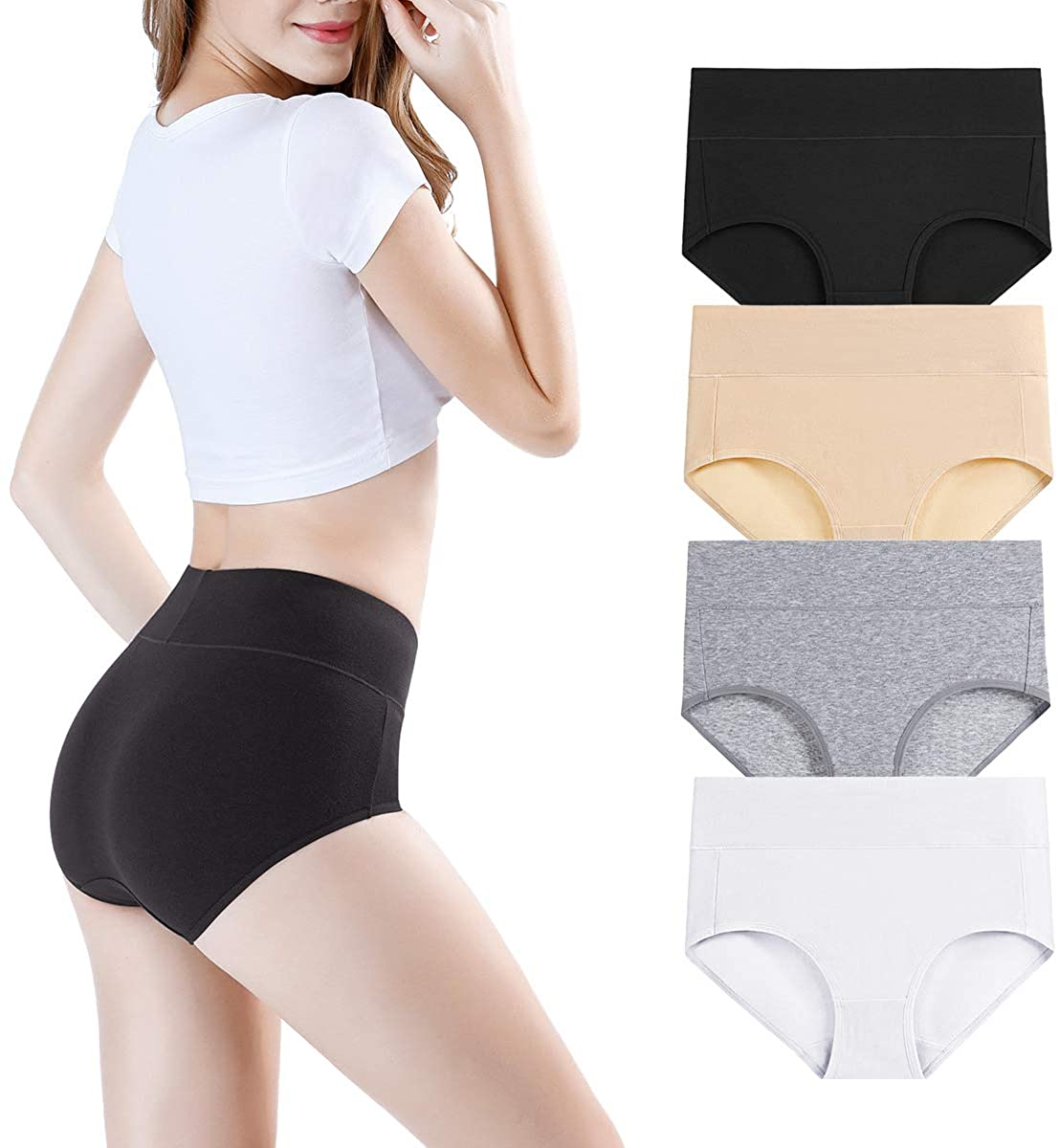 wirarpa Ladies Knickers High Rise Soft Bamboo Modal Pants Underwear for Women Full Stretchy Briefs Multipack