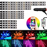 #5: 12Pcs Motorcycle RGB LED atmosphere Light Kit Strips, Multi-Color Accent Glow Neon Lights, Lamp with Bluetooth Cellphone App Control for Harley Davidson Honda Kawasaki Suzuki Ducati KTM BMW