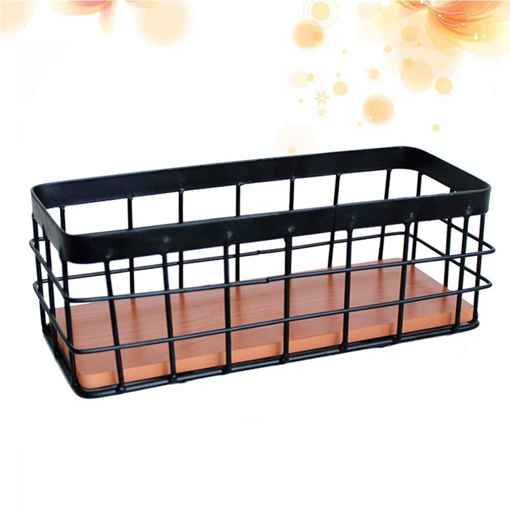 Vosarea Nordic Style iron rack Storage Basket Simple Desktop Basket Wall Mounted Metal Organizer for Home Bathroom Bedroom