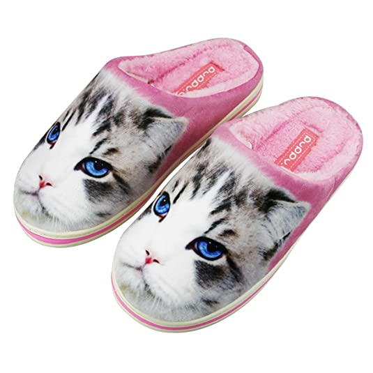 Creative Print Couples Slippers Cartoon Cute Scuff Slippers Winter Warm Indoor Floor Shoes Cotton House Fuzzy Slippers Slip-on Fleece Footwear Cold-proof for Family