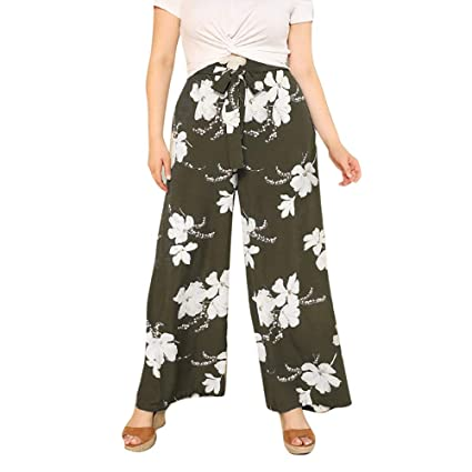 e4497ddf1c Amazon.com: Women's Boho High Waist Wide Leg Pants Floral Print Palazzo  Pants Lace up Bowknot Elegant Summer Beach Loose Long Trousers: Arts, ...