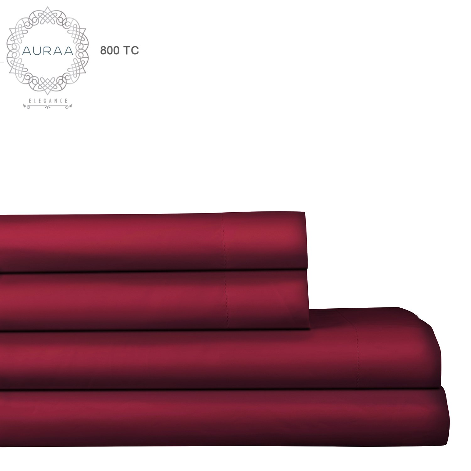 AURAA Elegance 800 Thread Count 100% American Supima Long Staple Cotton Sheet Set,4 Pc Set, Queen Sheets Sateen Weave,Hotel Collection Luxury Bedding,Fits Upto 18'' Deep Pocket,Burgundy