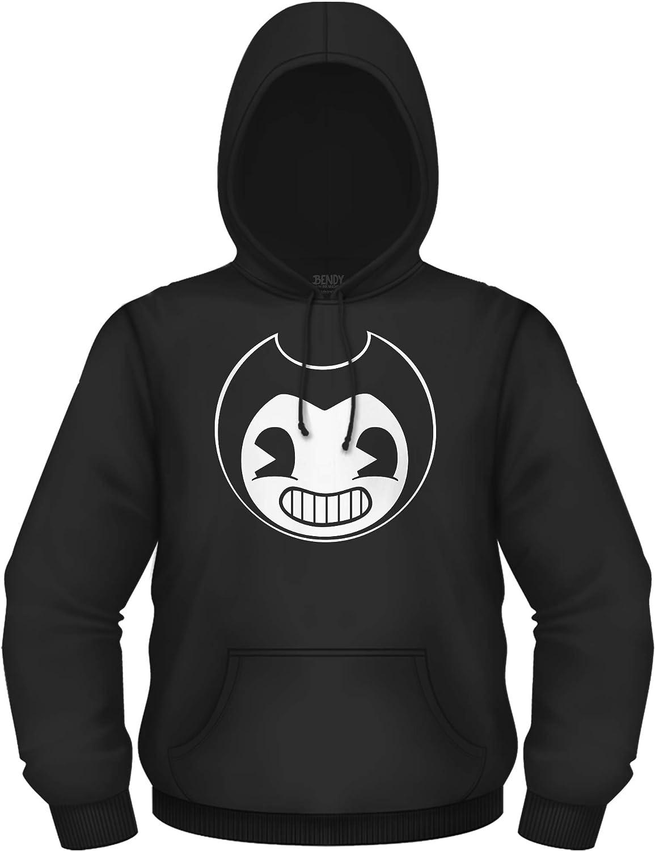 Black and White Bendy Mens Hoody Official Bendy Sweatshirt Bendy and the Ink Machine Hoodie