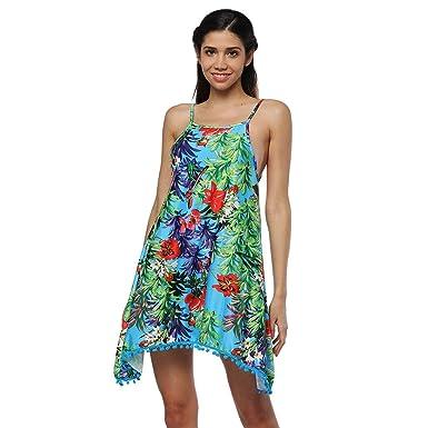 e2c4755eaf EFINNY Women Summer Sleeveless Boho Sundress Ethnic Floral Print Party  Beach Mini Dress  Amazon.co.uk  Clothing