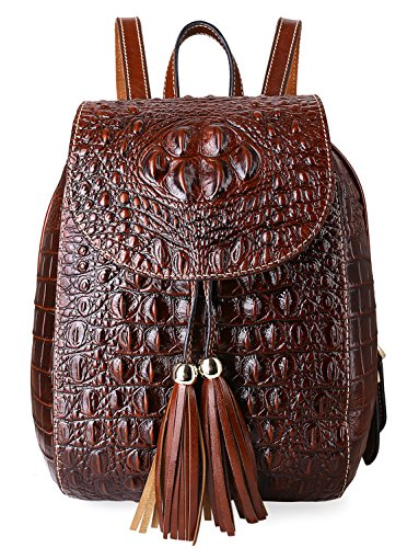 PIFUREN Women Fashion Genuine Leather Backpacks Crocodile Bag (E76810, Brown) by PIFUREN